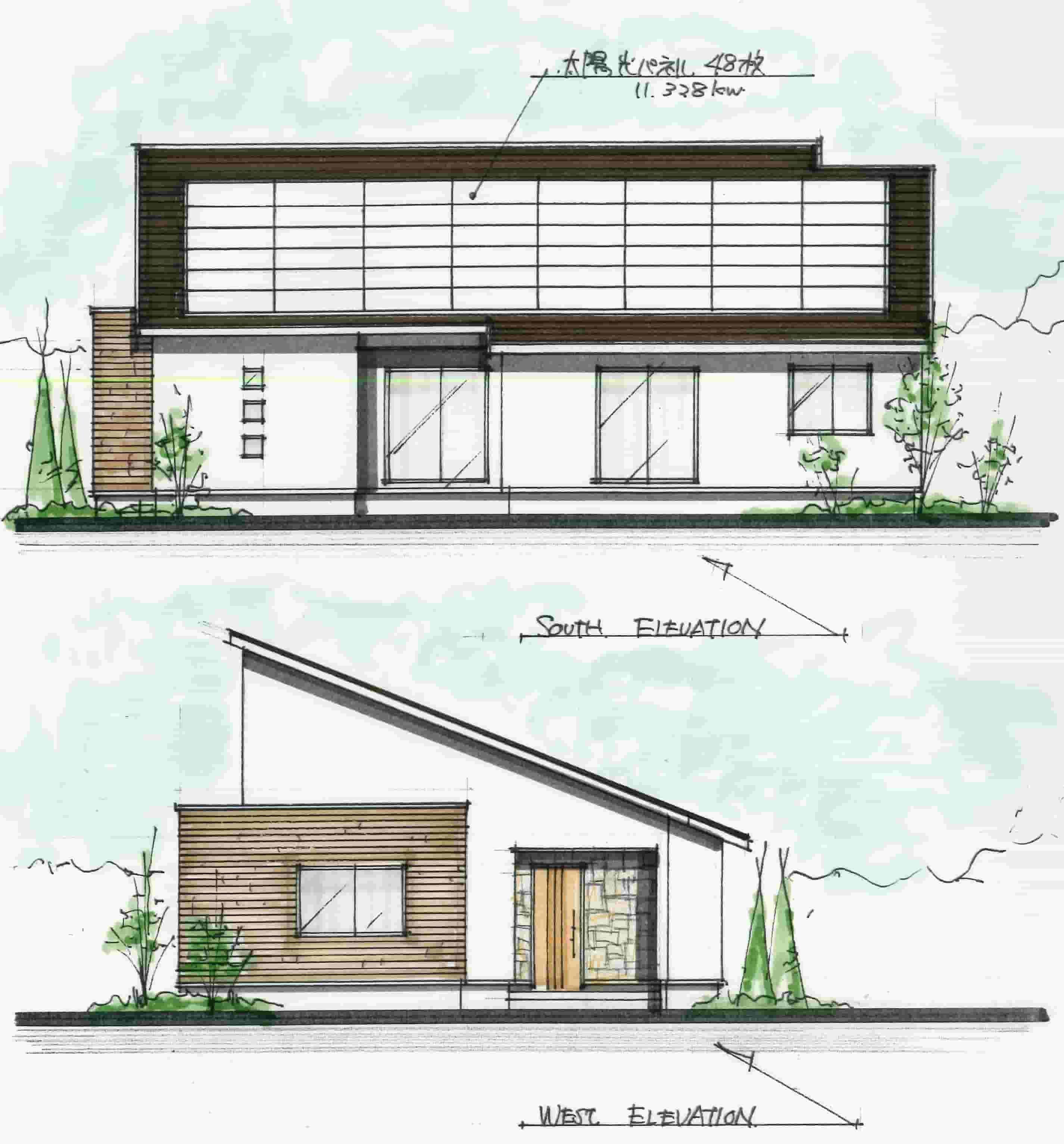 平屋の和モダンの間取り 住宅建築デザイン 平屋外観