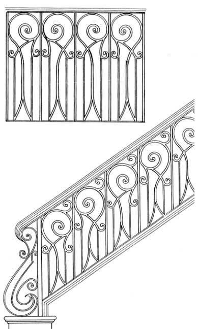 Best Stair Railing Designs Isr029 Hand Rail Scroll Design 400 x 300