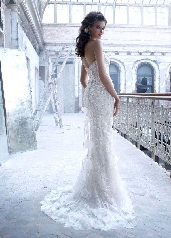 Cascading Flowers Wedding Gown By Lazaro