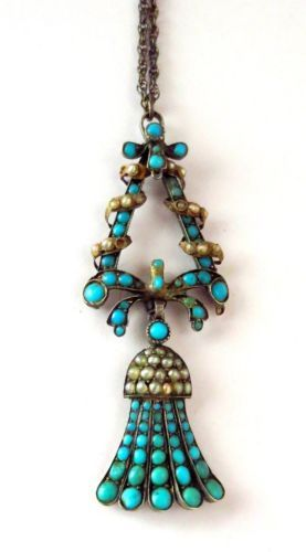 ANTIQUE VICTORIAN LARGE PERSIAN TURQUOISE & SEED PEARL LAVALIERE NECKLACE 1860 era