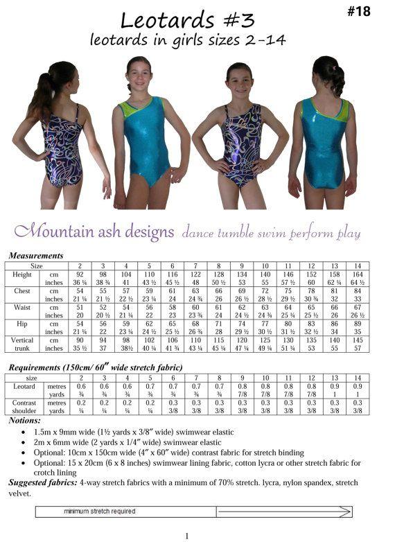 Leotards 3 pdf Sewing pattern gymnastics leotard, ballet jazz dance ...