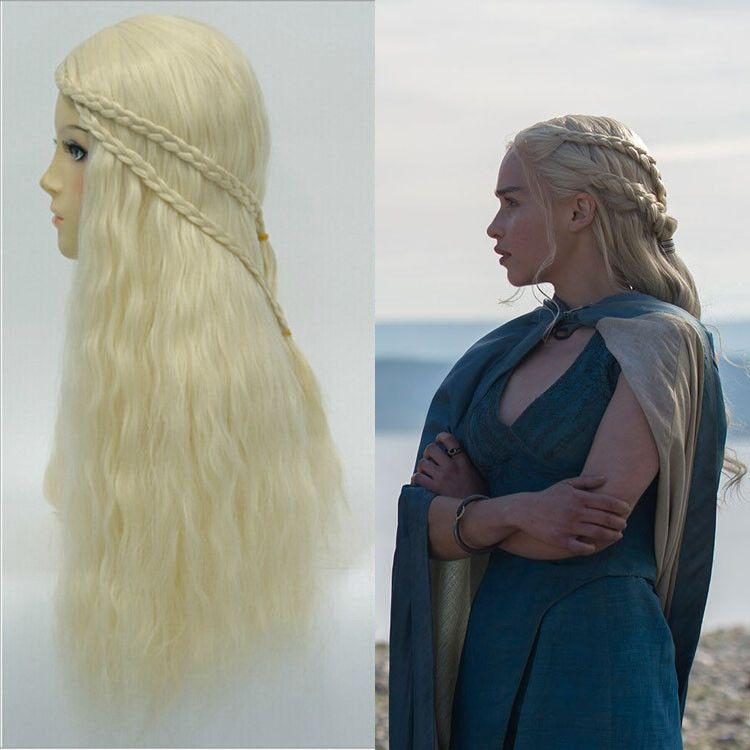 Mother of Dragons Game of Thrones Daenerys Targaryen Wigs Dress Costume Cosplay