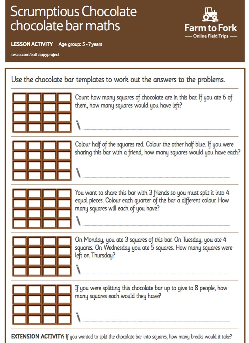 Use the chocolate bar templates to work out the answers to the maths ...