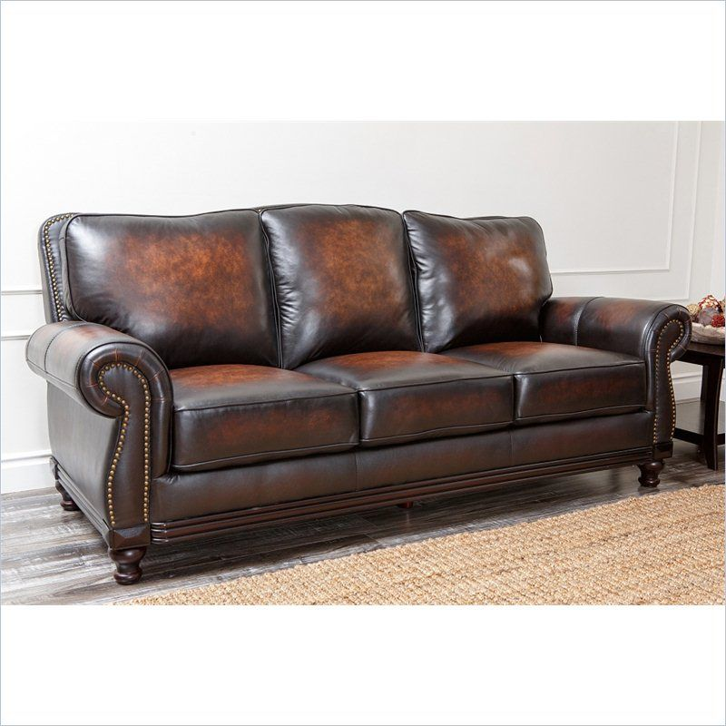 Abbyson Living Barclay Sofa Leather sofas Espresso and