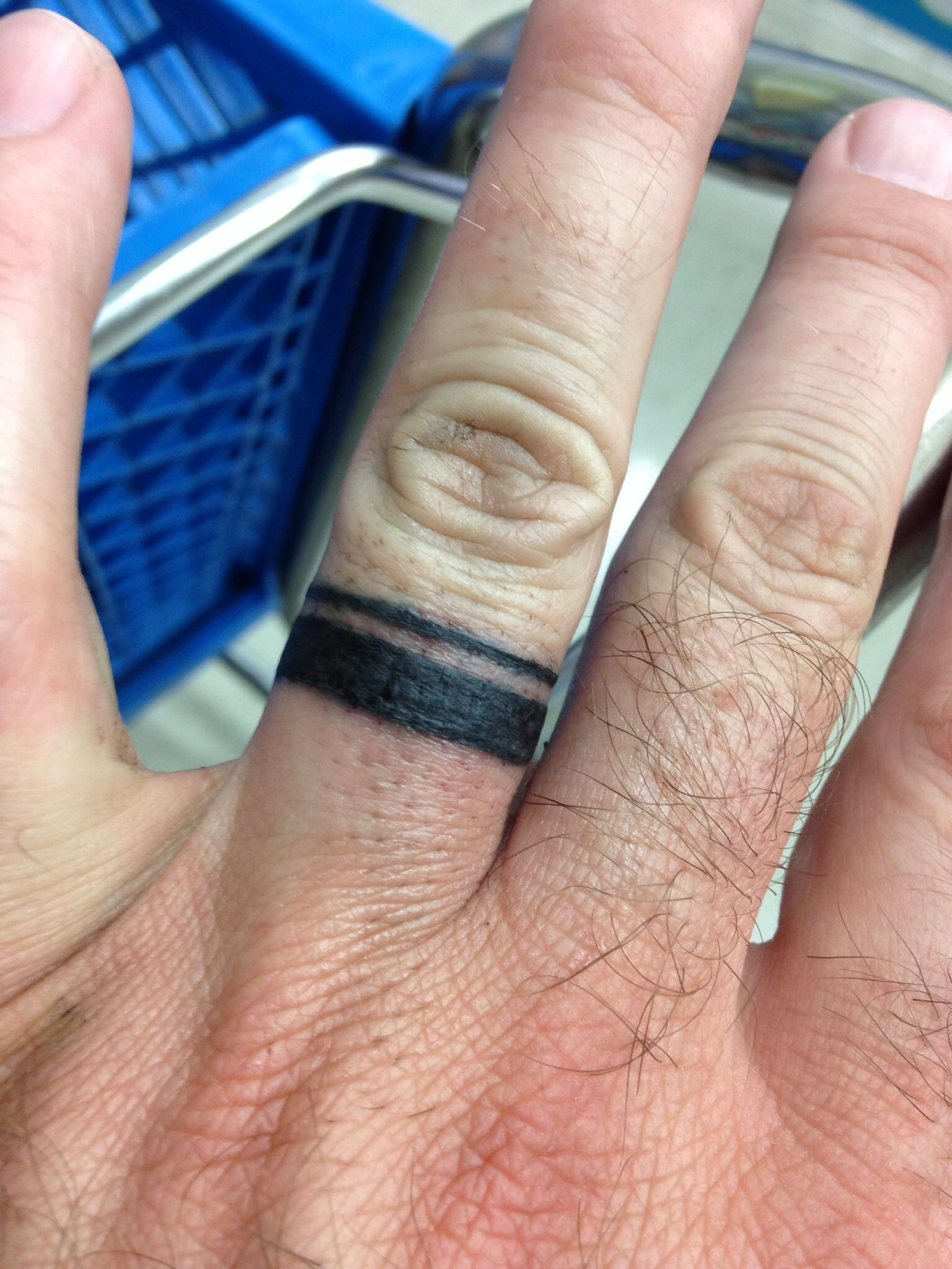 my 2 day old wedding ring tattoo yes i know i have hairy fingers - Wedding Ring Finger Tattoos