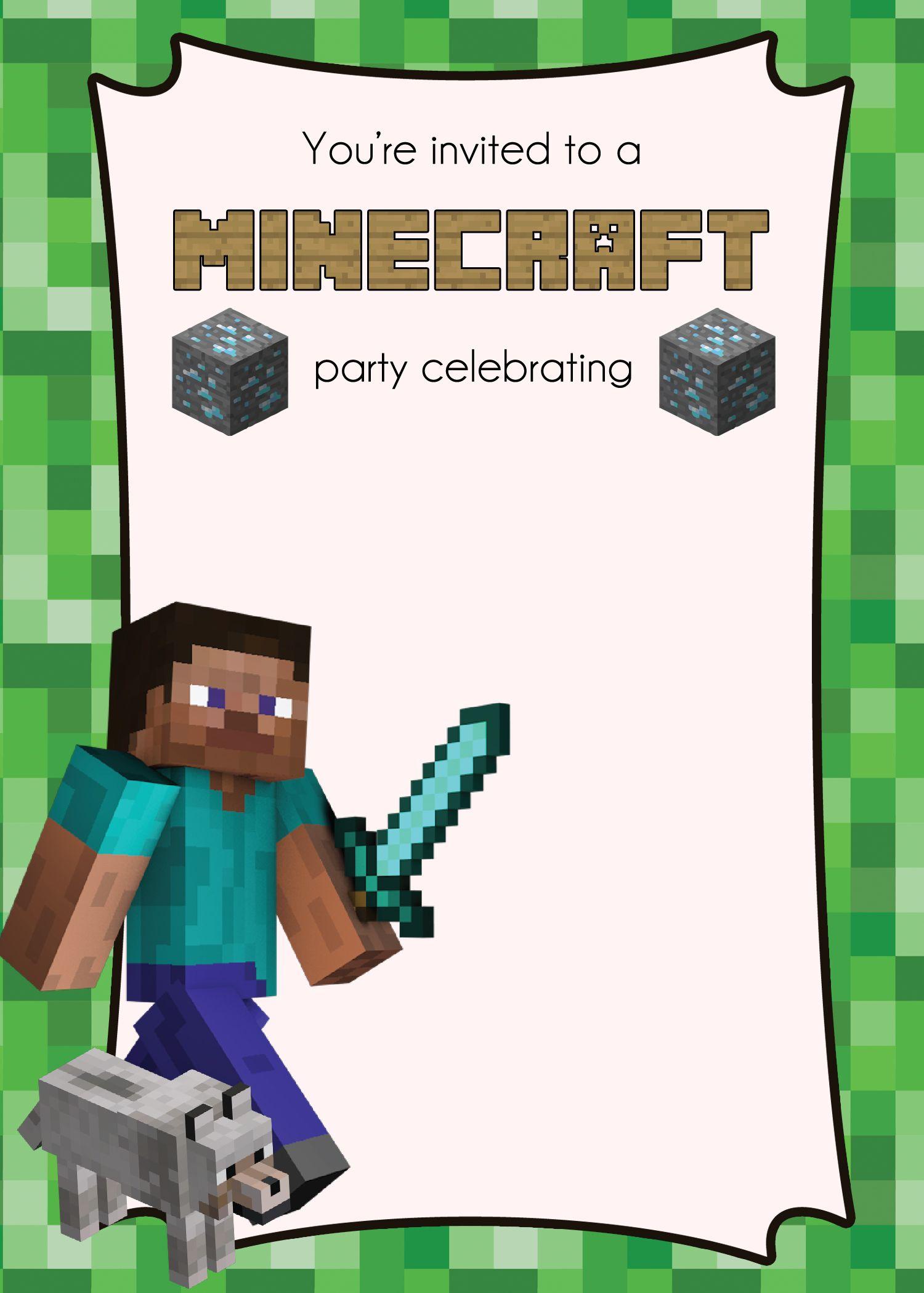 Free Minecraft Invitation | nickjoe\'s 10 bday | Pinterest | Party ...