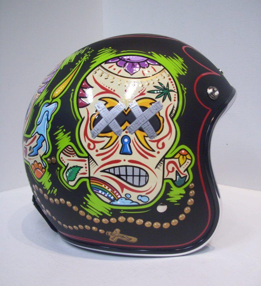 Custom Helmet Paint Job Vintage Helmet Bobber Helmets Motorbike Helmet