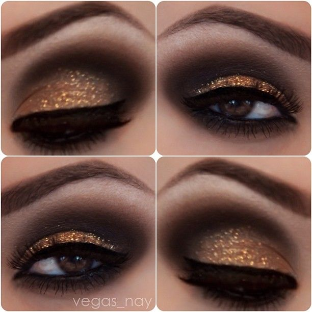 smoky sparkly eye - mac's carbon on crease & soft brown blended out around eyes (include bottom.)  naked palette virgin on brow bone.  pat makeup forever diamond dust on lid w/o medium.  stila onyx pencil on water line & inglot's gel liner on top lid (use angle brush) #dark #gold #smoky #eye #makeup #dramatic