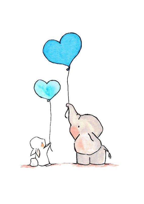 Elephant and bunny with balloons Print Animal Print Kids | Etsy