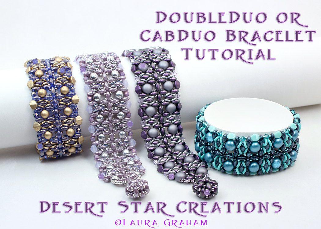 Double duo beadweaving bracelet tutorial super duo rounduo czech