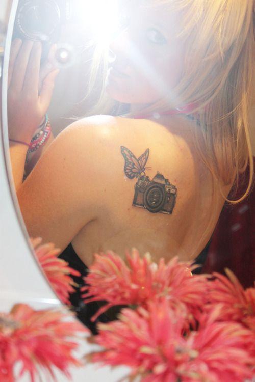 camera butterfly tattoo