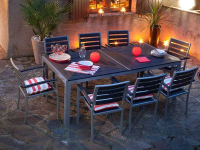 Salon de jardin 8 places en aluminium et composite : 1 table ...