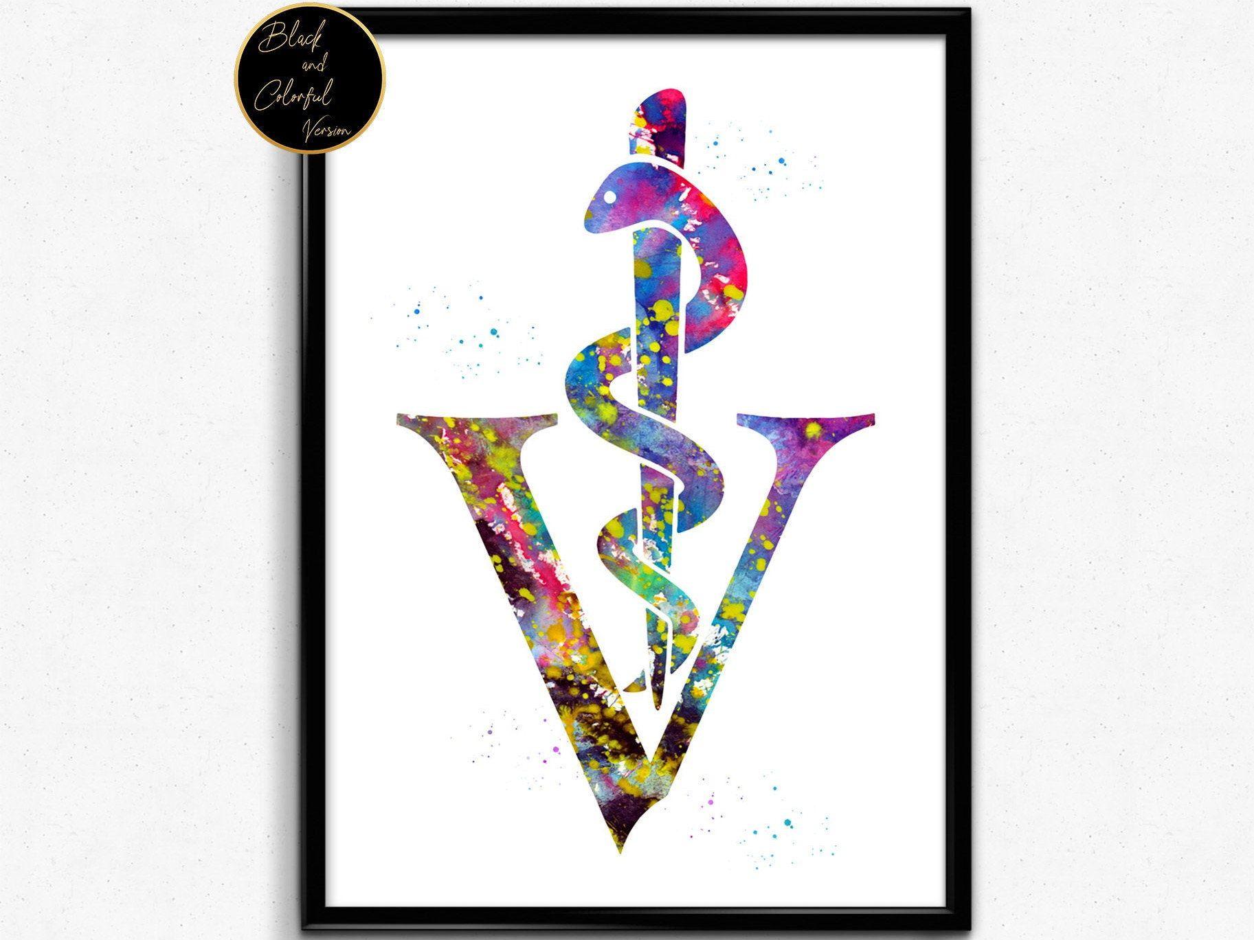 Veterinary Symbol, Watercolor Print, Watercolor, Poster
