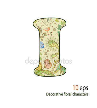 Pobieraj Ozdobne Litery Kwiaty I Ptaki Alfabet Czcionki Ilustracja Stockowa 10477983