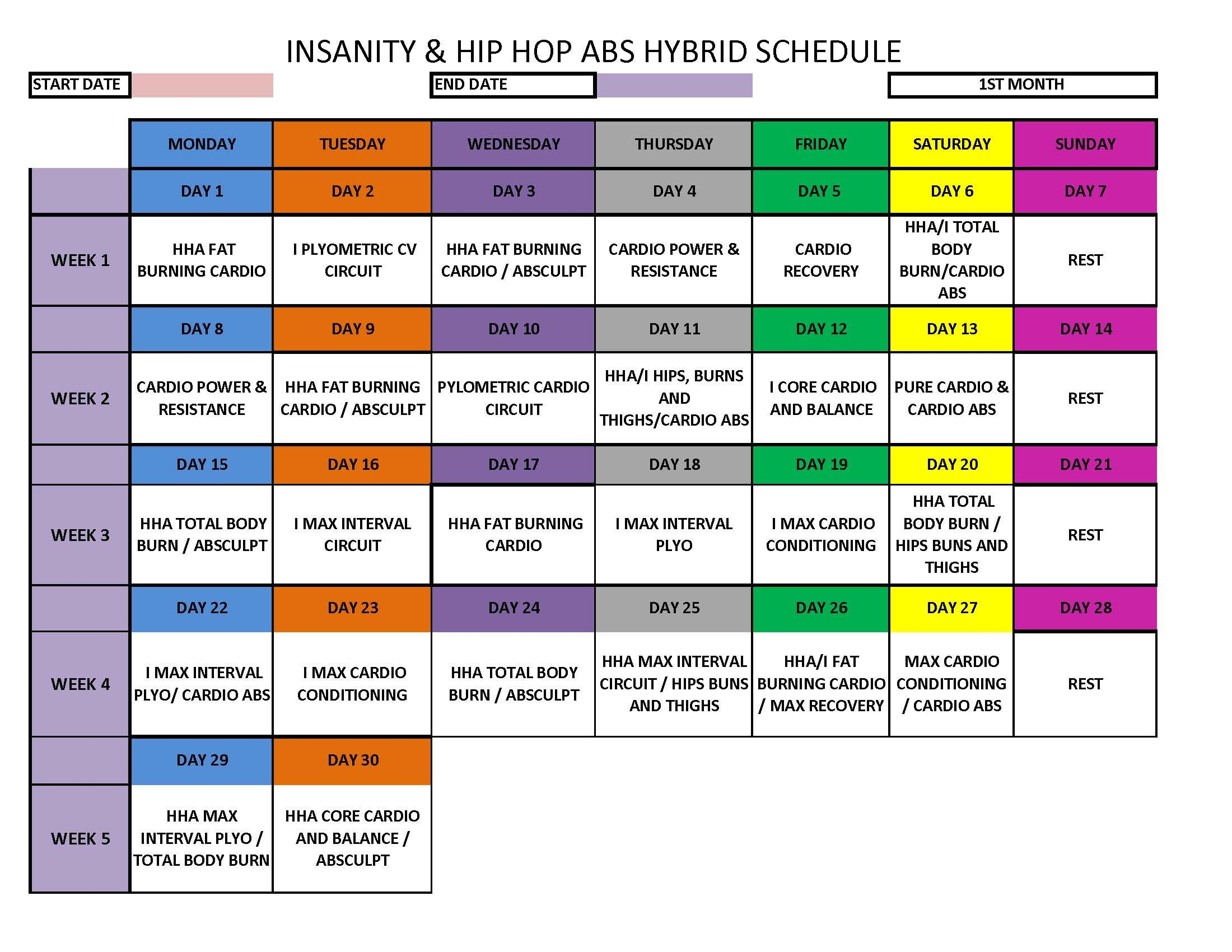 Hip Hop Abs Schedule Deluxe Month 2   Workouts - Abs/Core only ...