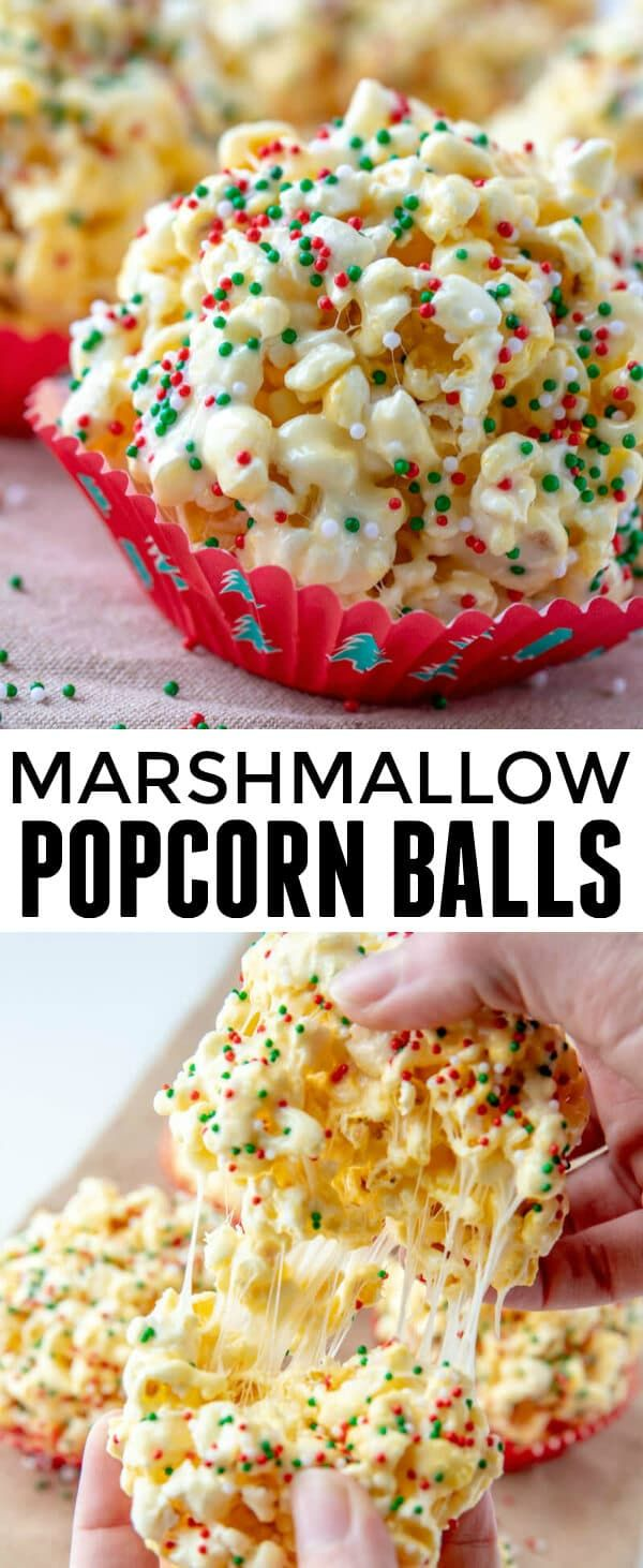 When it comes to easy and kid-friendly treats these Marshmallow Popcorn Balls are one of our all time favorites with only 5 ingredients needed! #popcorn #marshmallow #treats #gifts #holidaygifts #homemadegifts #snacks #dessert via @amiller1119