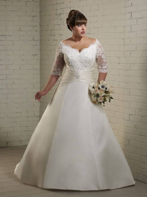 A Line V Neck Half Sleeve Satin Wedding Dress Usahs355