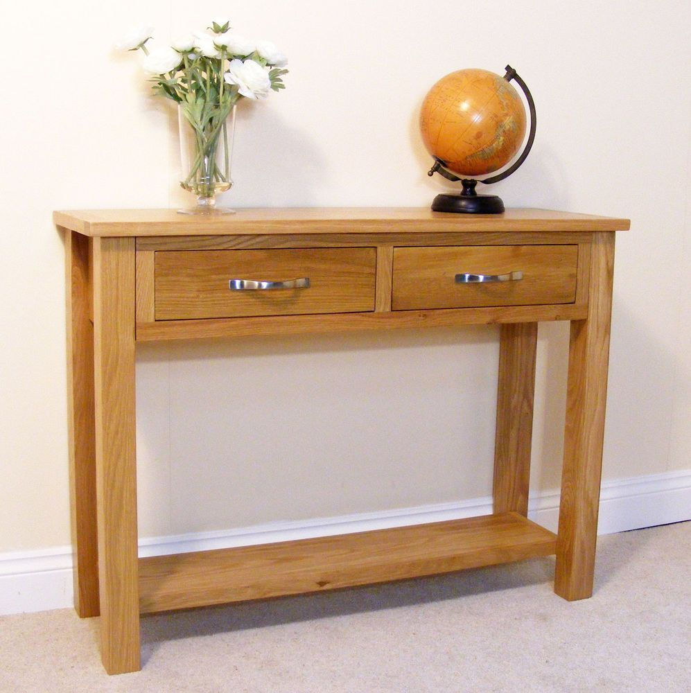 Newlyn Oak Console Light Oak Hall Table Two Drawer Side
