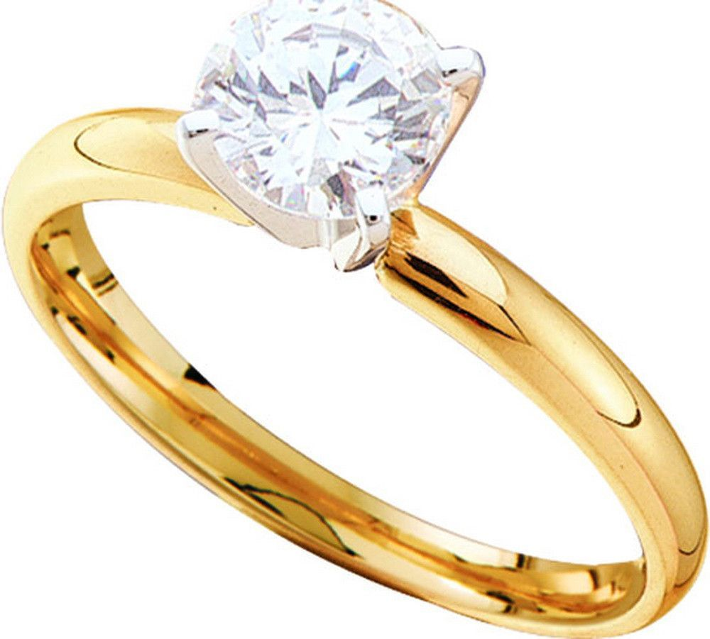 14kt Yellow Gold Womens Round Natural Diamond Solitaire Bridal Wedding Engagement Ring 3/4 Cttw