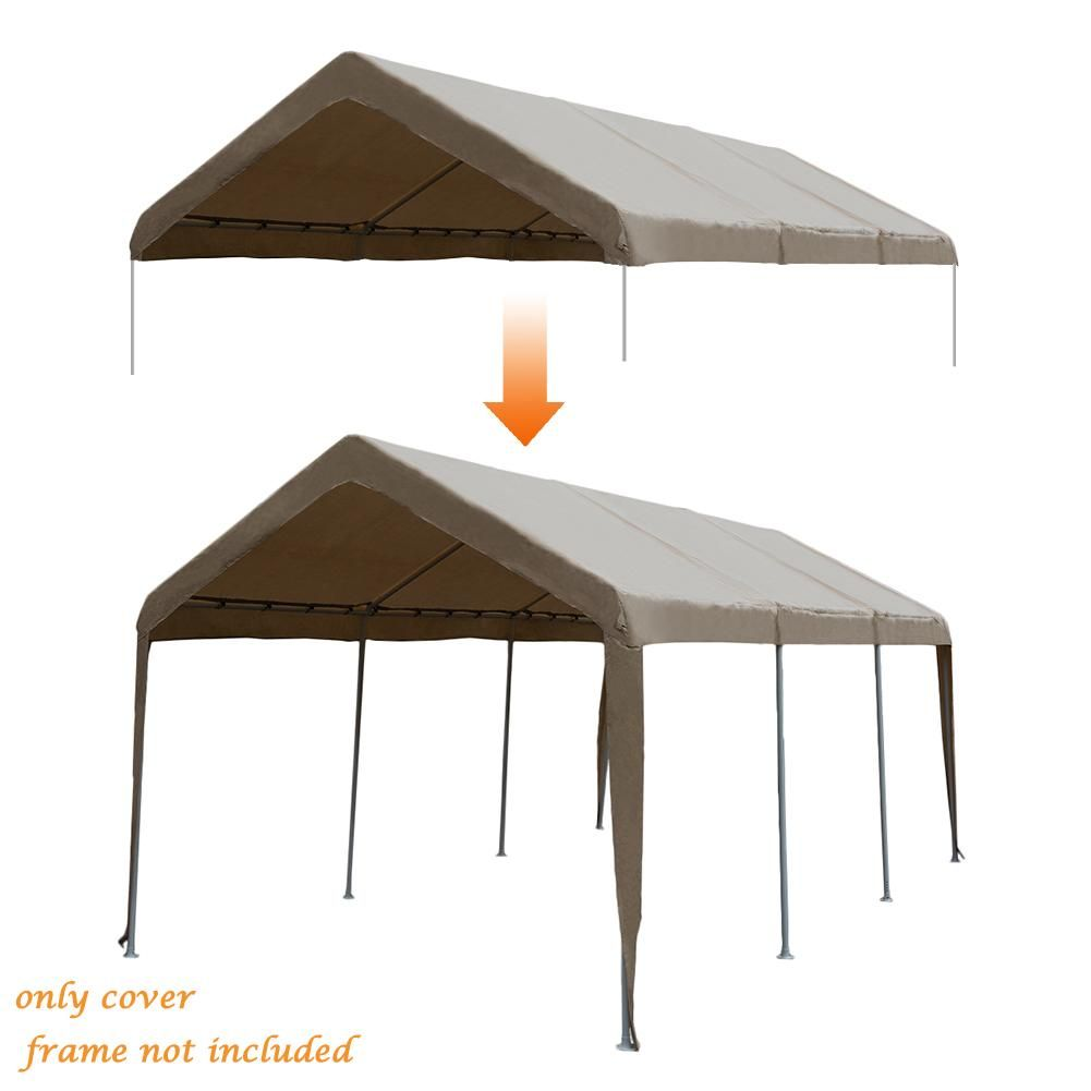 Replacement Top Canopy Cover For 10 X 20 Feet 8 Legs Carports Garage Shelter With Ball Bungees Frame Not Included Canopy Cover Carport Garage Canopy