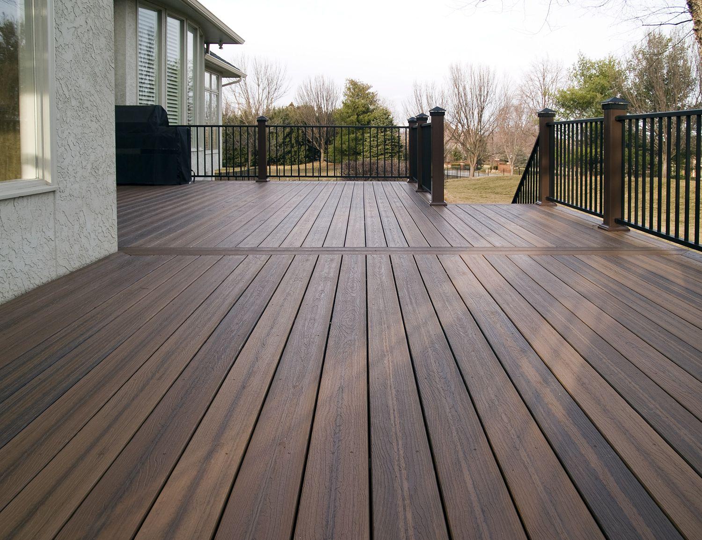 Evergrain envision spiced teak composite deck with for Composite wood colors