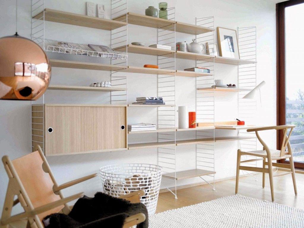 Etagres en bois et mtal String Shelf String Furniture bureau