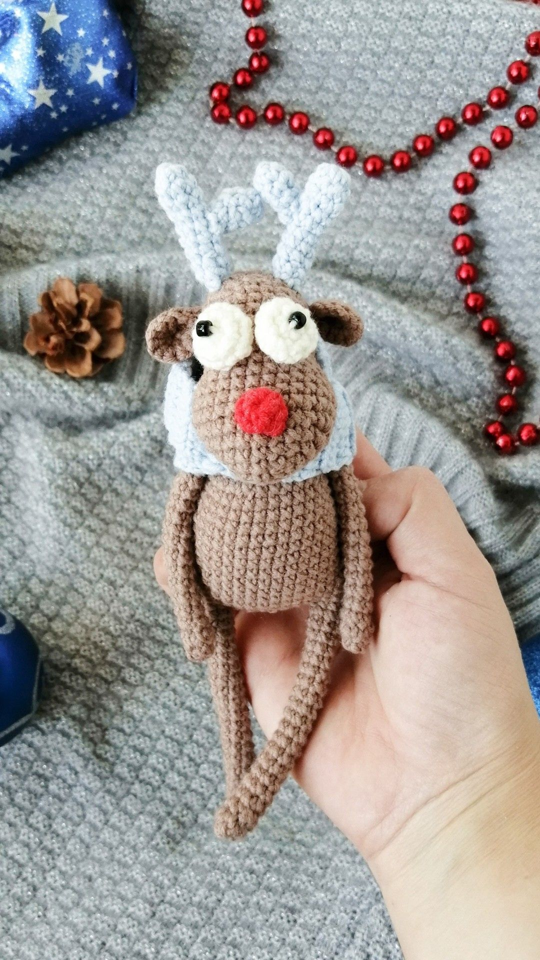 Funny Rudolph toy . Cute little creature Christmas
