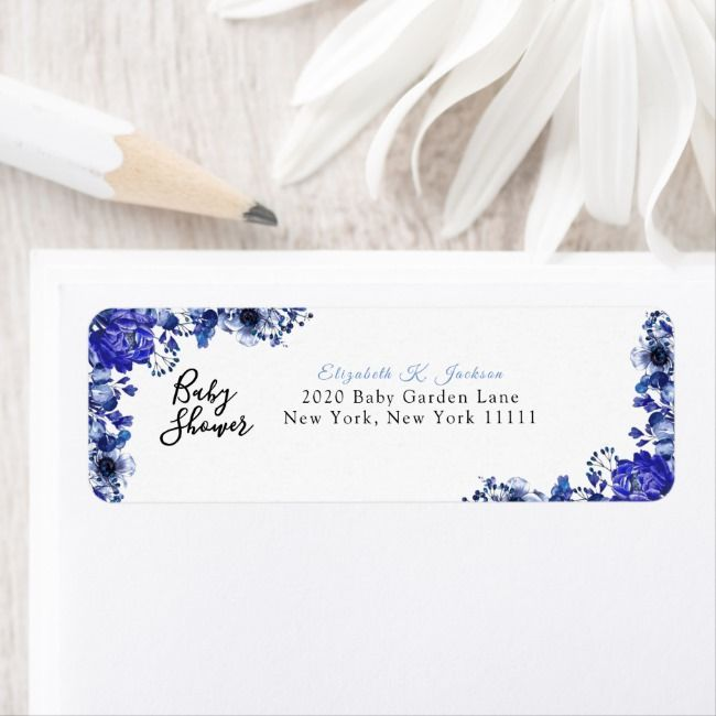 Rustic Cornflower Blue Peony Baby Shower Label | Zazzle.com #bluepeonies