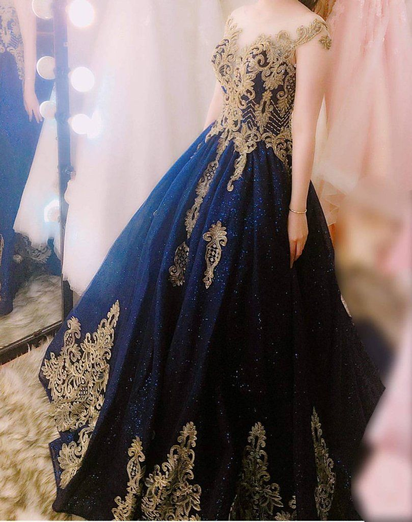Navy Blue Ball Gowns Wedding Dresses Gold Lace Embroidery Blue Wedding Gowns Navy Wedding Dress Blue Ball Gowns [ 1024 x 809 Pixel ]
