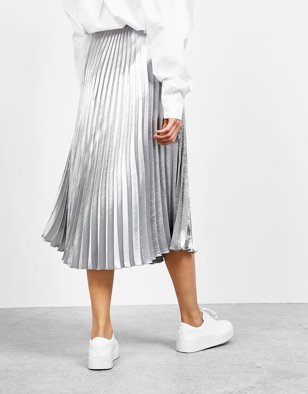 72235c7066 Silver pleated skirt - Skirts - Bershka United Kingdom