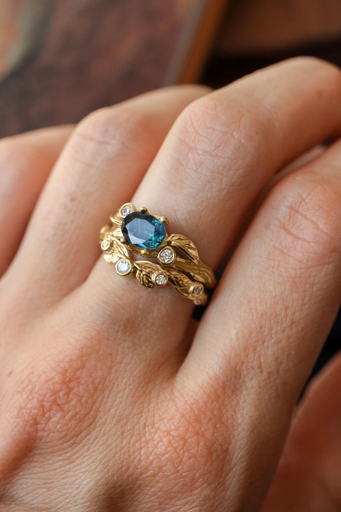 Sapphire engagement and wedding band set, stacking rings