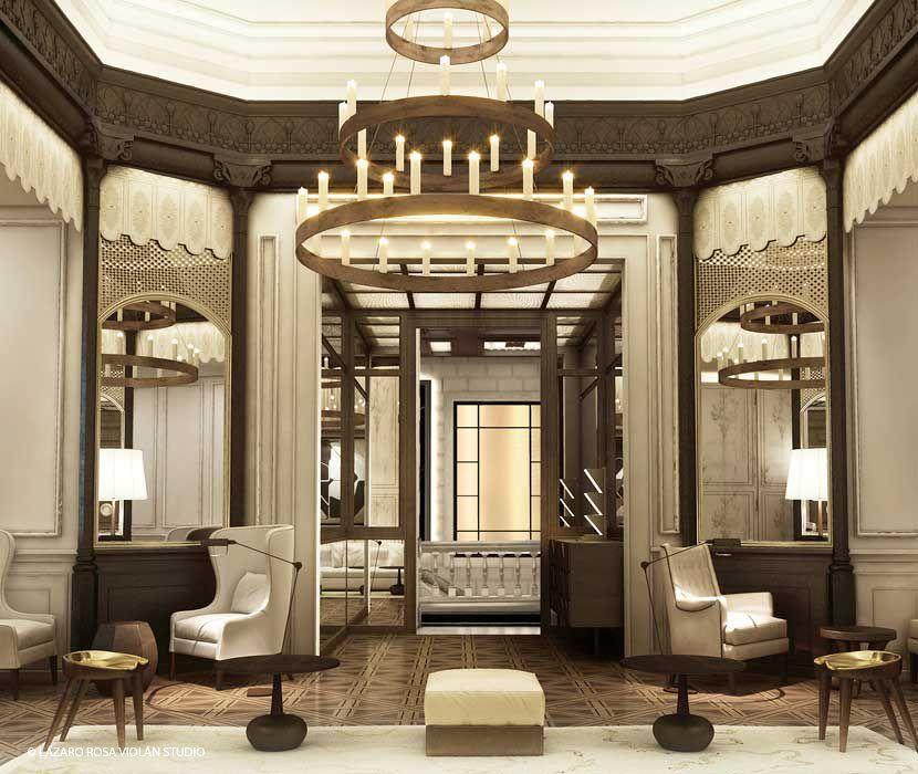 lazaro rosa violan hotel in barcelona hospitality hotel interiors hotel lobby design. Black Bedroom Furniture Sets. Home Design Ideas