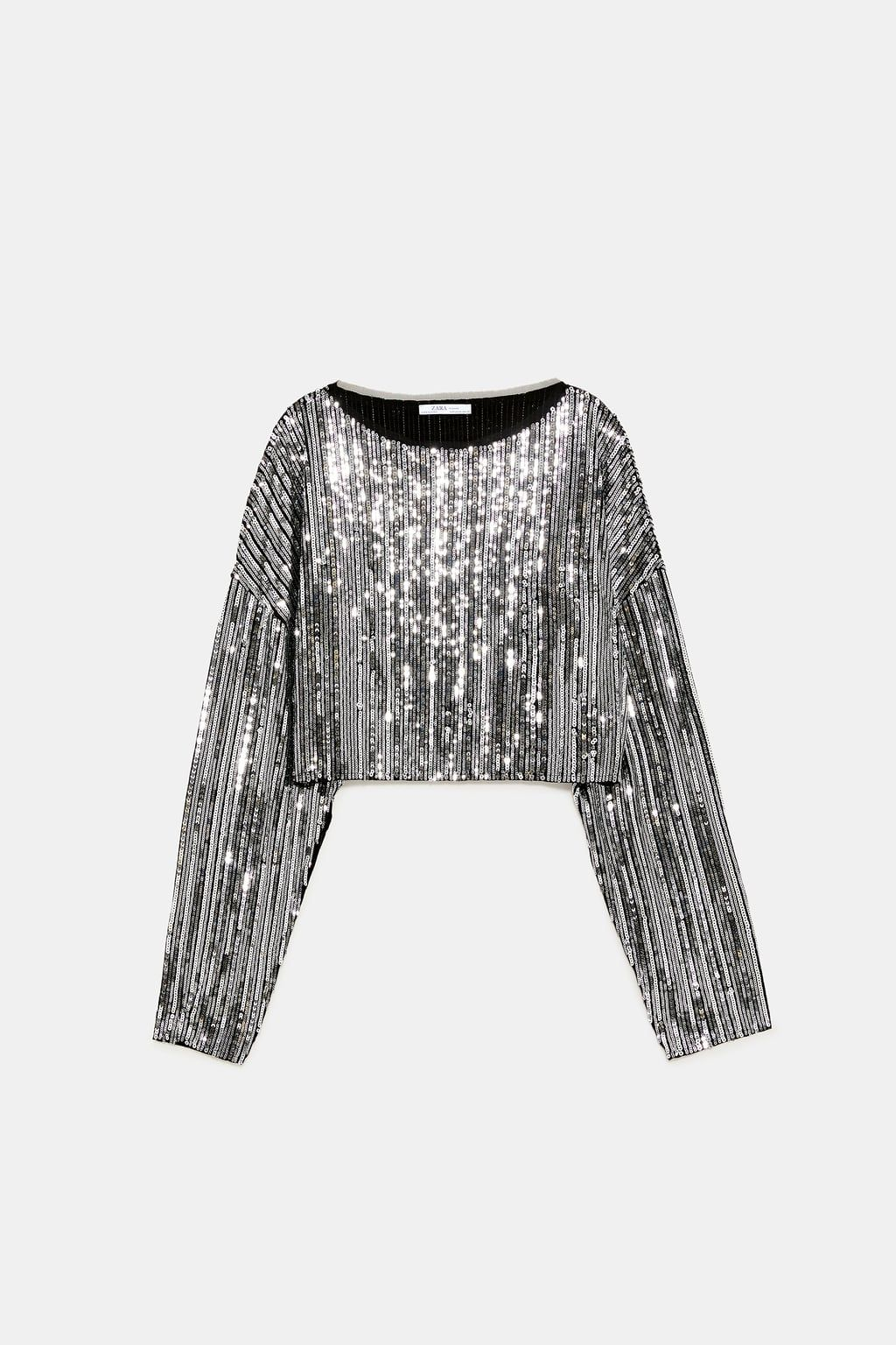 da9b6179 Sequined cropped t-shirt in 2019 | fashion | Shirts, Fashion, Sequins