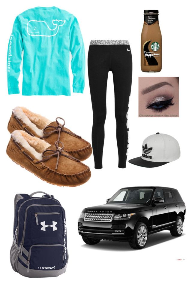 """Driving maddy to school"" by rhino1021 ❤ liked on Polyvore featuring UGG Australia, NIKE, Vineyard Vines, Under Armour, adidas, women's clothing, women's fashion, women, female and woman"