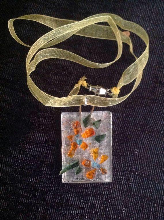 Slumped Glass Pendant Necklace with Orange Flowers