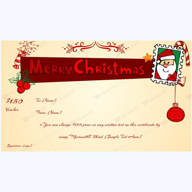 Printable Christmas Gift Voucher Template Word Layouts Christmas Gift Certificate Template Gift Certificate Template Christmas Gift Certificate