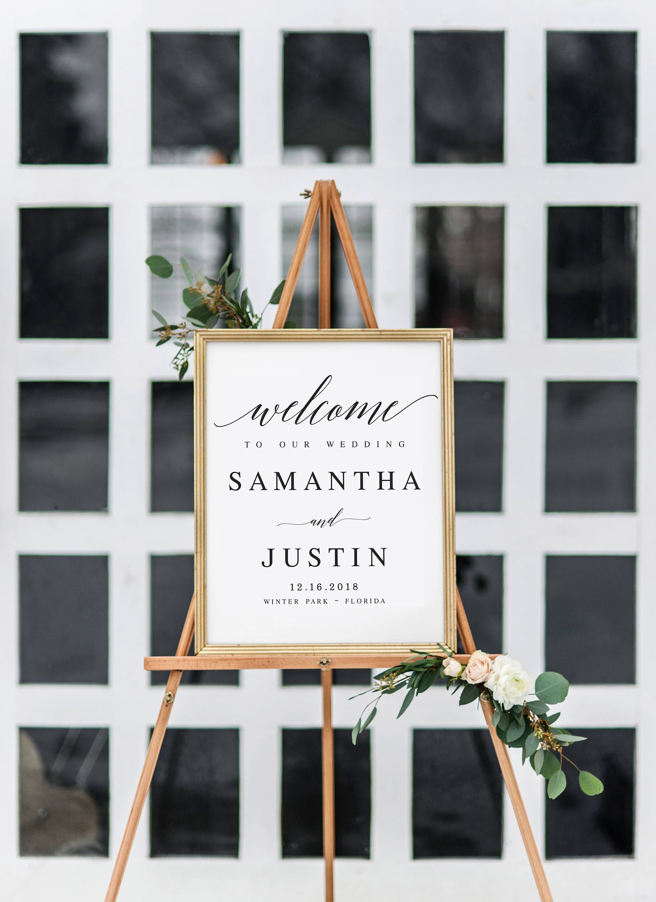 Print your own wedding welcome sign  Elegant Welcome to our