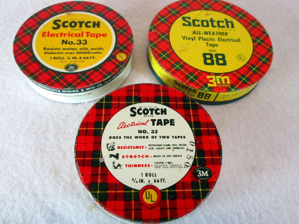 Vintage 1950s lot of 3, 3M Scotch Electrical tape tins, no