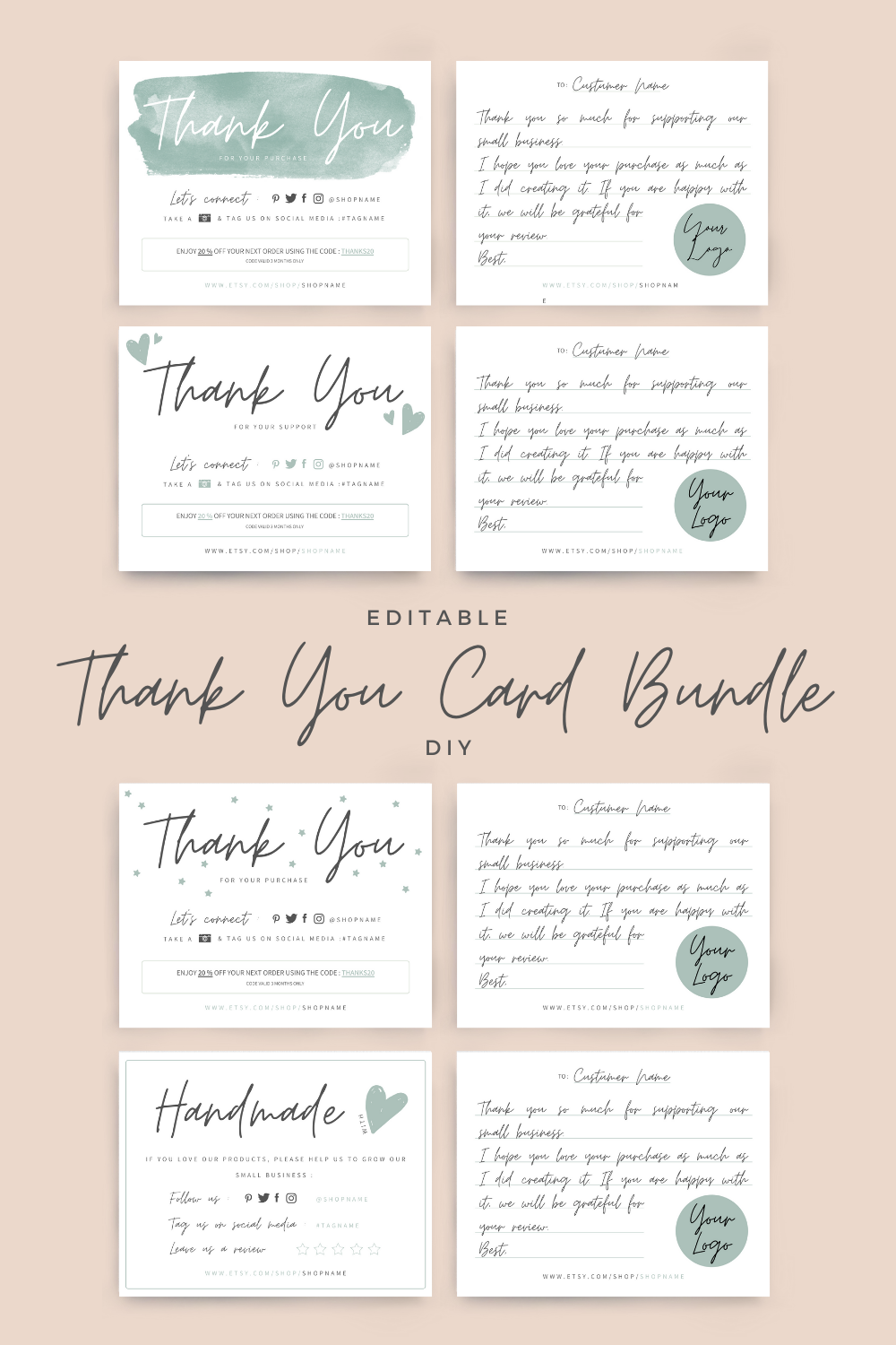 Multipack 4 Diy Thank You Card Template Bundle Business Card Green Thanks Note Fully Editable Thank You Card Design Business Thank You Cards Thanks Card