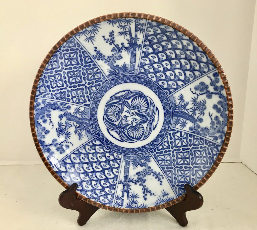 Antique Igezara Ware Meiji Period 12 Blue And White Transferware