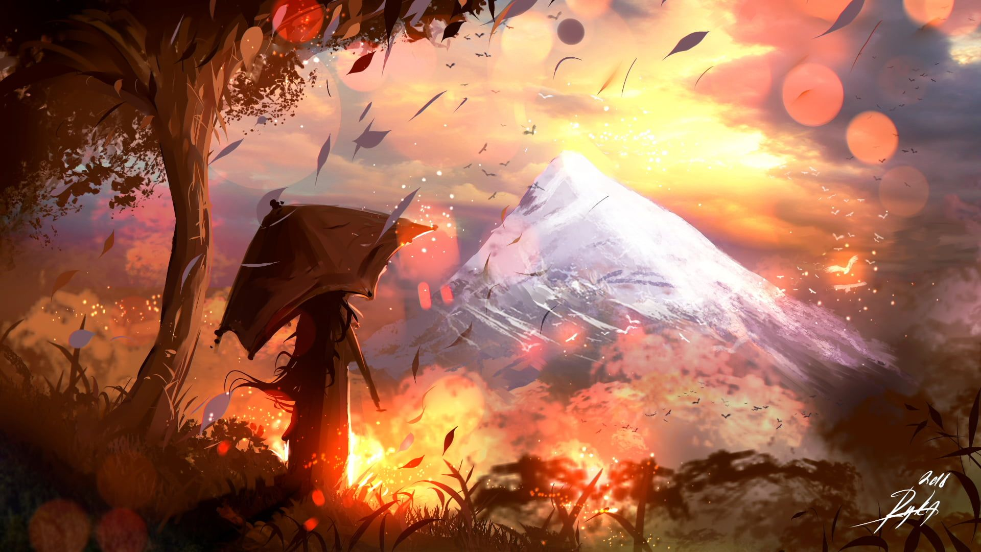 Signed Person Holding Umbrella With Facing Mountain Painting Artwork Fantasy Art Mountains Umbrella Trees In 2021 Fall Wallpaper Anime Wallpaper Mountain Paintings Anime fall wallpaper laptop