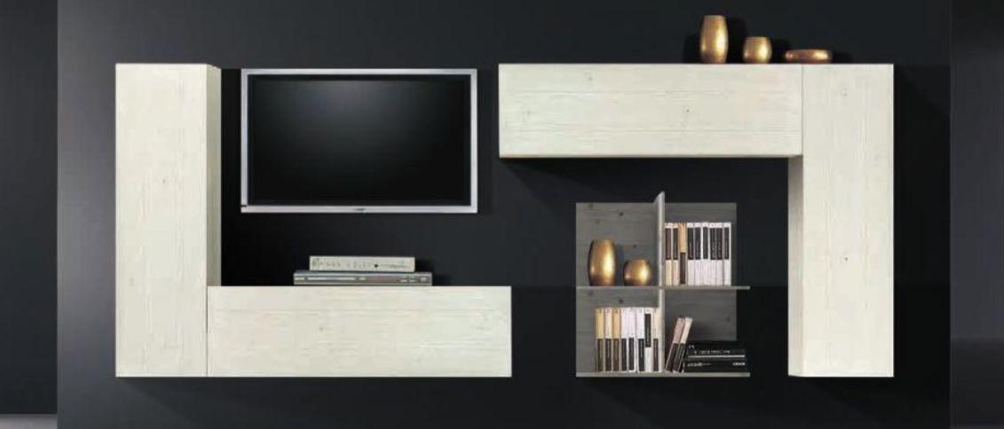 Parete attrezzata componibile per #soggiorno, tutta in #legno di ...