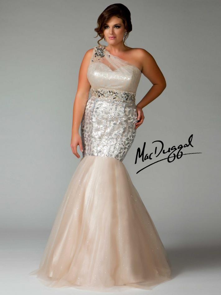 Silver One Shoulder Mermaid Plus Size Prom Gown Mac Duggal 76461f