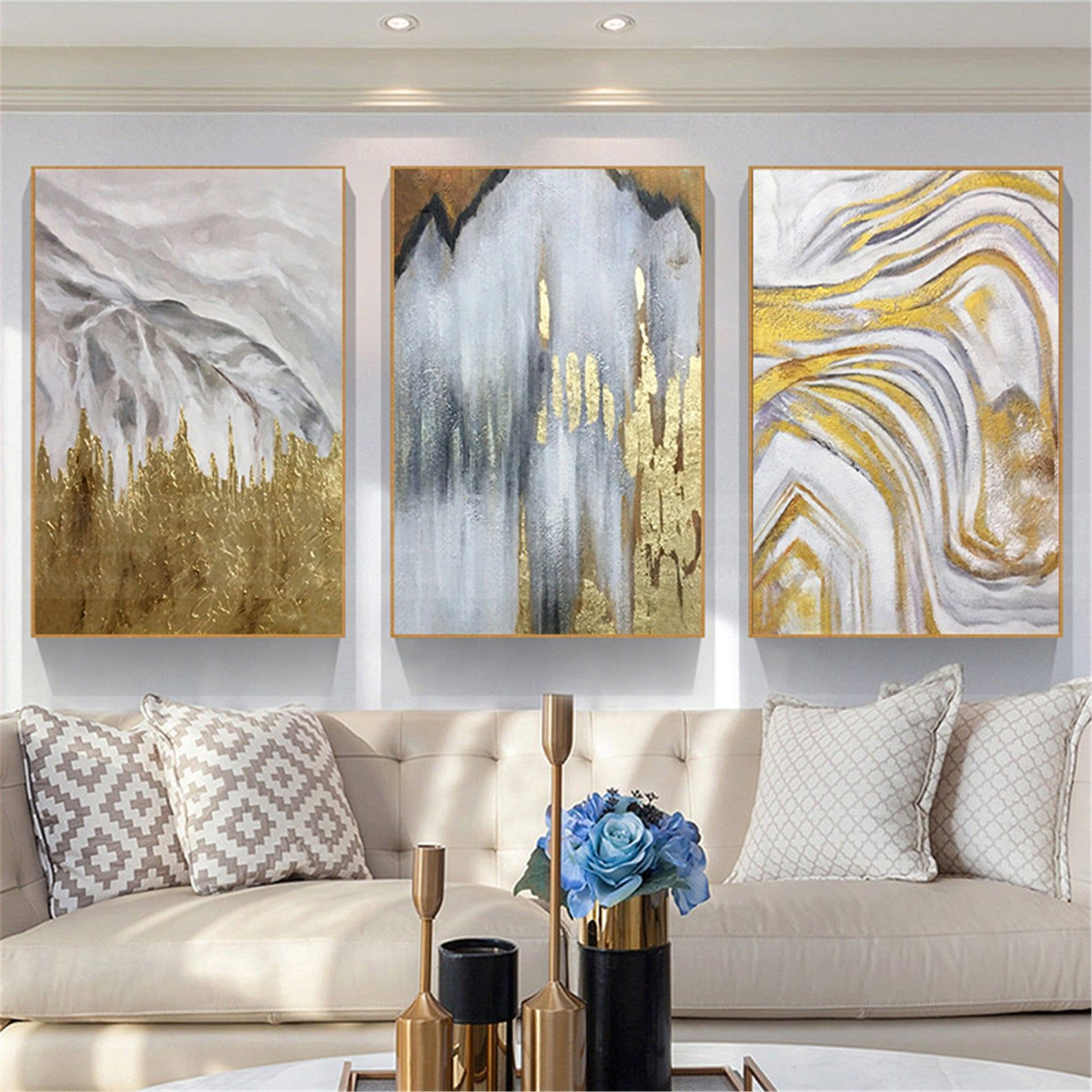 3 Panels Gold Leaf Abstract Painting Framed Canvas Wall Art Etsy Canvas Wall Art Living Room Wall Art Living Room Living Room Canvas Abstract art living room