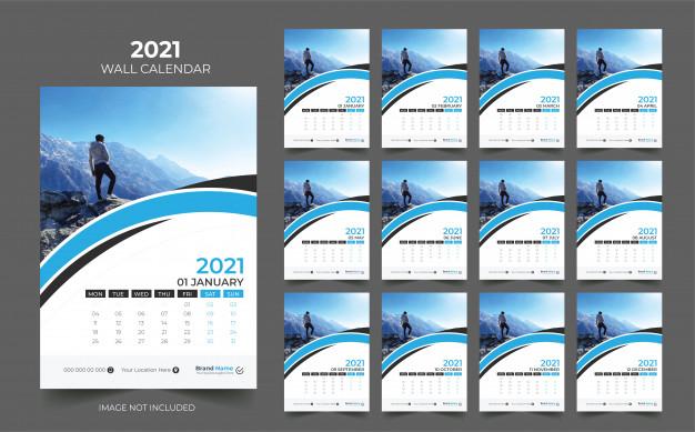 8 Template Kalender Dinding 2021 Biru Yang Perlu Anda Miliki Template Desain Kalender Kalender