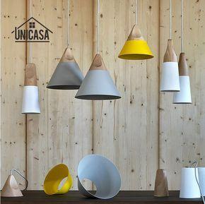 Legno moderno lampade a sospensione in alluminio industriale mini ...