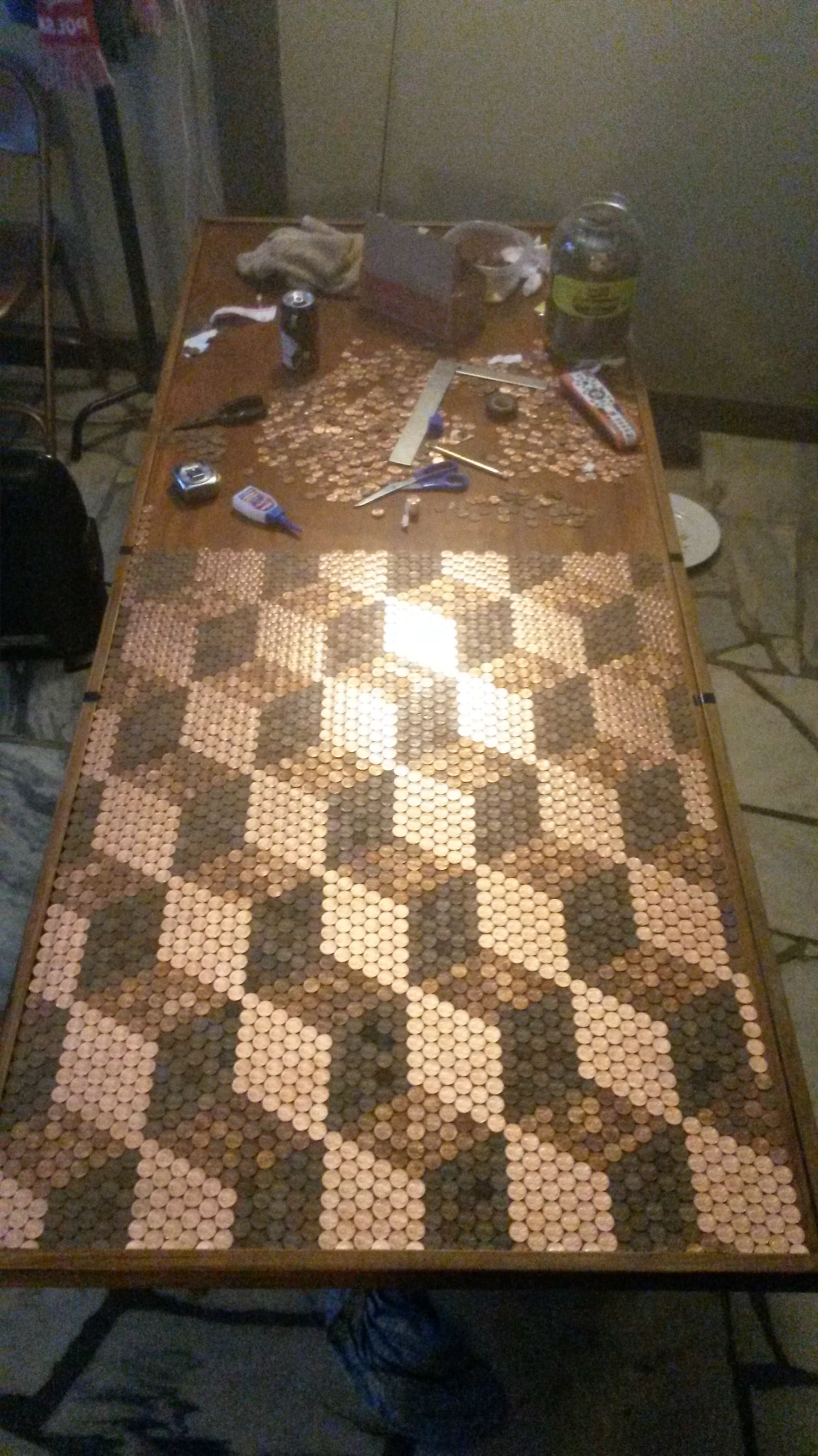 Another Penny Tabletop This Time In An Escher Cube Pattern WOW Process Pics