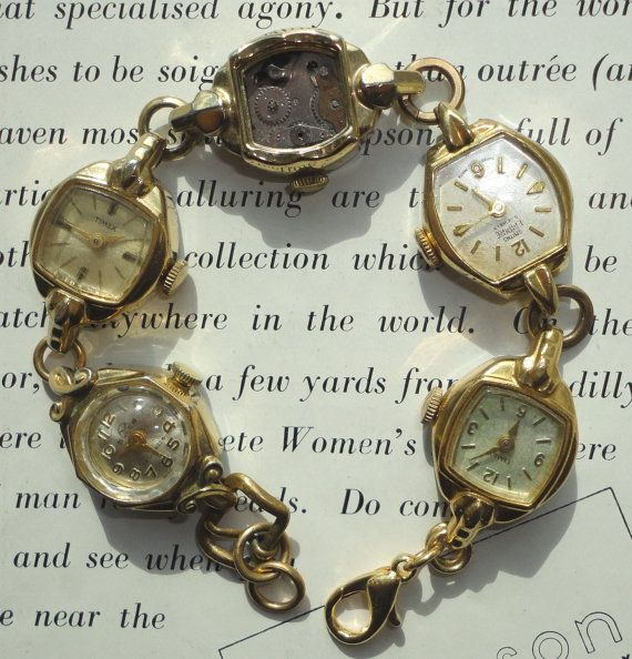 Recycled Vintage Watches Bracelet, Antique Jewellery Assemblage, Unusual, Eco Friendly #vintagewatches