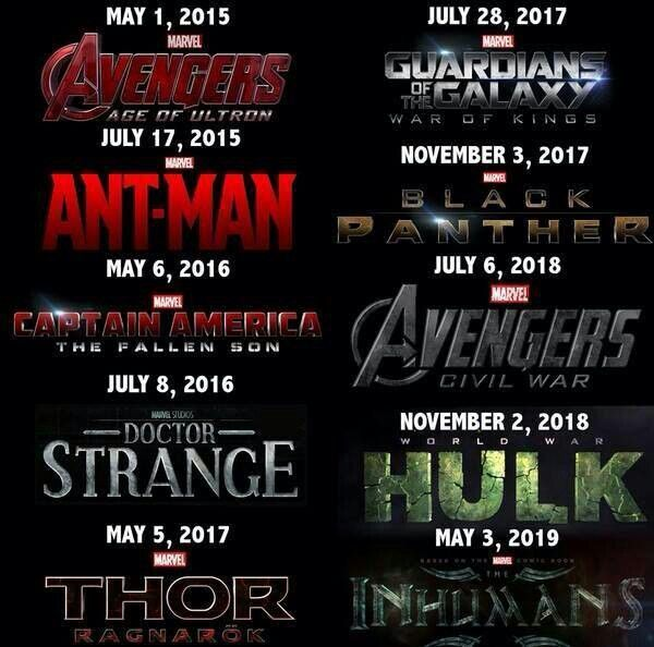 marvel film release 2016
