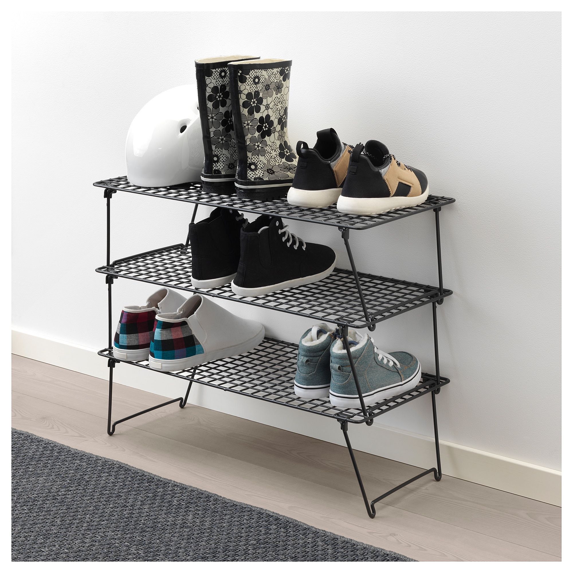 small black metal shoe rack